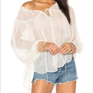 Free People sheer sequin cuff blouse M